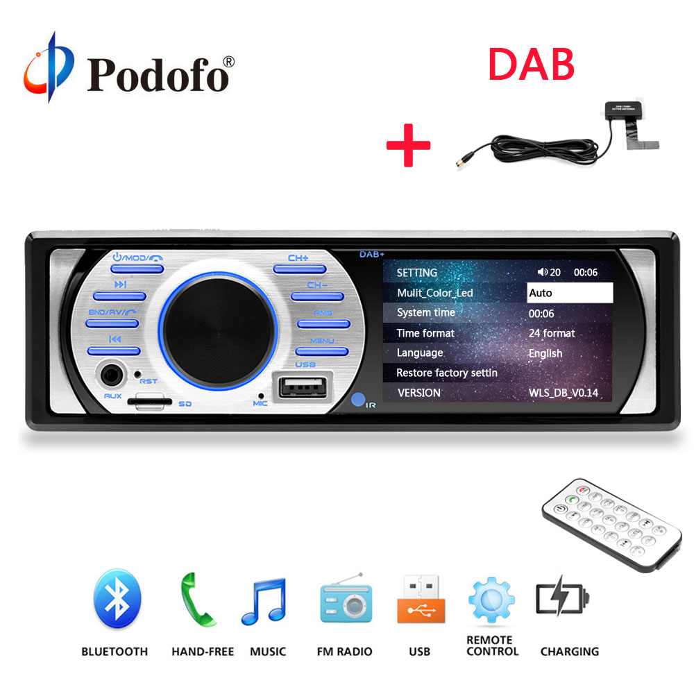 Podofo 1Din Car MP5 Player Radios Auto Audio Stereo Autoradio 12V In-dash 1 Din Car Radio FM Bluetooth Stereo Audio Support DAB auto audio