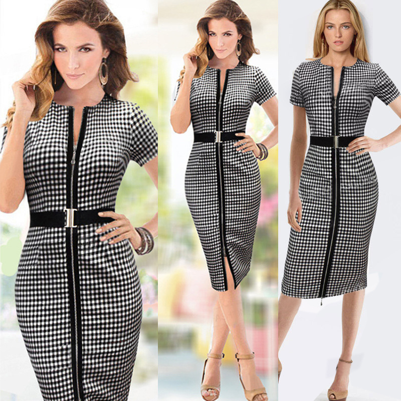 free shipping party design clothes Womens Elegant Zipper Front Belted Wear to Work Business Casual Office Lady OL Career s-2xl