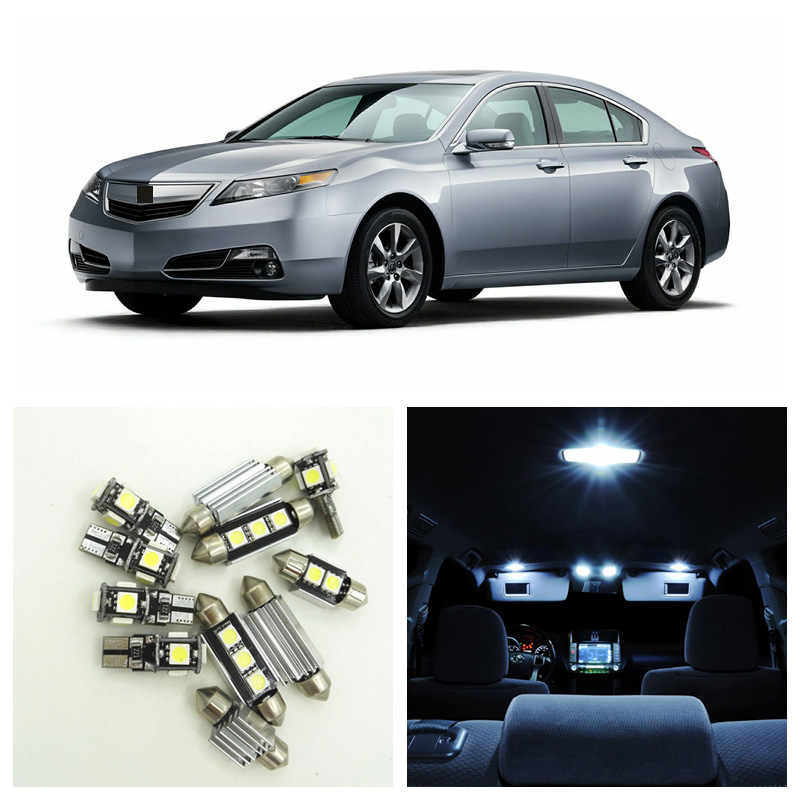 10pcs White Car LED Light Bulbs Interior Package Kit For 2009 2010 2011 2012 2013 2014 Acura TL Dome Trunk Glove Box Door Lamp