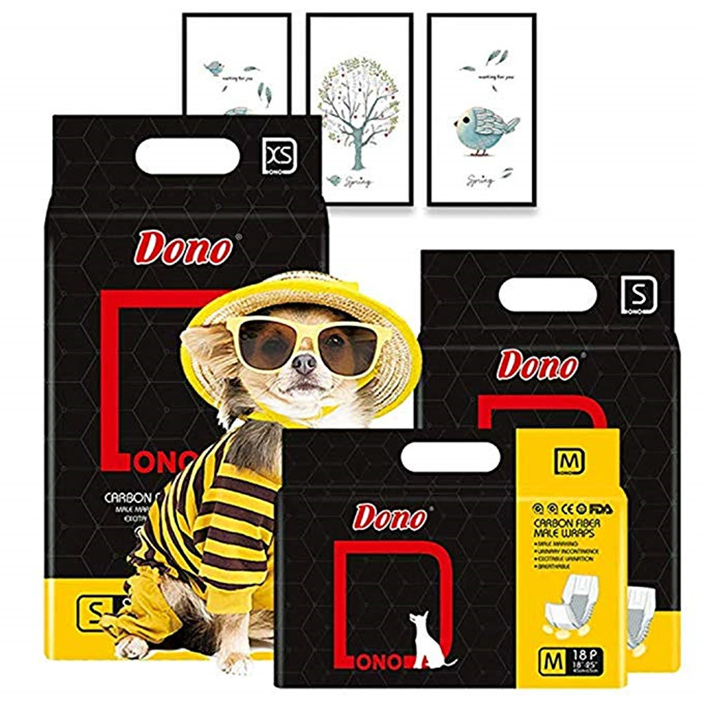 4 Packs Dono Disposable Pet Diapers for Male Dogs Cats Absorbent Soft Male Dog Wraps Puppy