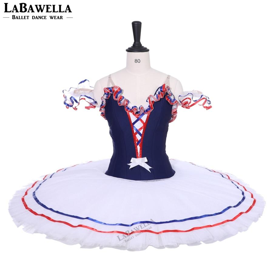 Adult Professional Ballet Tutu Navy Blue White Fairy Pancake Peformance Tutus Ballerina Nutcracker Ballet Stage Costume BT9213