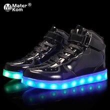 Boyutu 25 39 Çocuk LED Çocuk Parlayan Spor Ayakkabı Işık Aydınlık Sneakers Erkek Kız Spor Ayakkabı Işık Taban