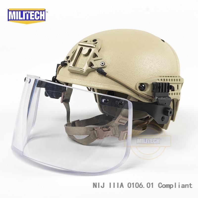 DE Tan Airframe CP Air Frame Vented NIJ IIIA 3A Bulletproof Helmet Visor Set Deal Ballistic Helmet Shield Bullet Proof Mask