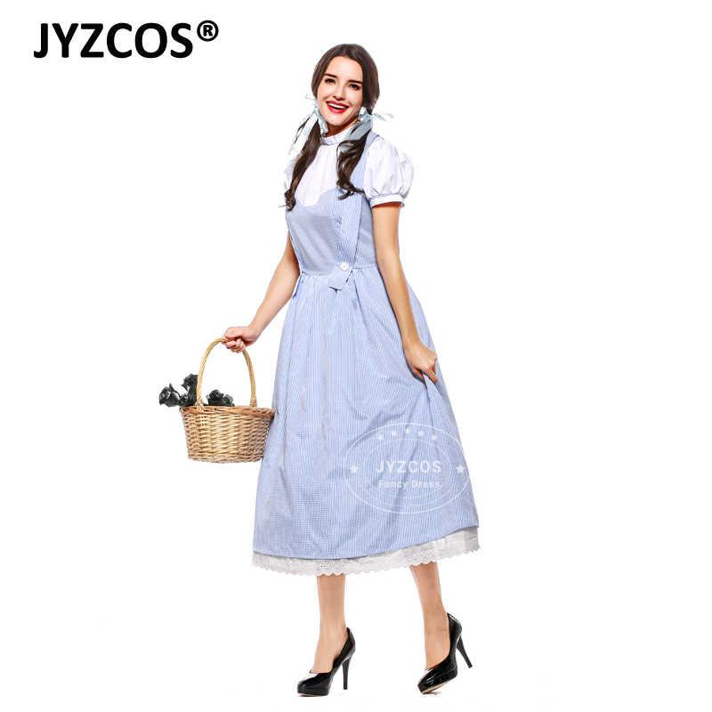 JYZCOS взрослый Винтажный стиль волшебник Оз костюм Дороти костюмы на Хэллоуин для женщин девочек Дороти косплей хлопок длинное платье