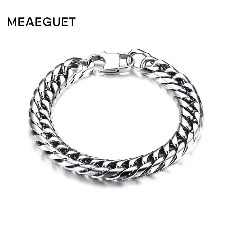 Meaeguet 10mm Punk Rock Curb Chain Link Bracelet & Bangle Polished Silver Tone Stainless Steel Bracelet Pulseras Accessories men s 8 5 curb chain link bracelet 316l stainless steel bangle