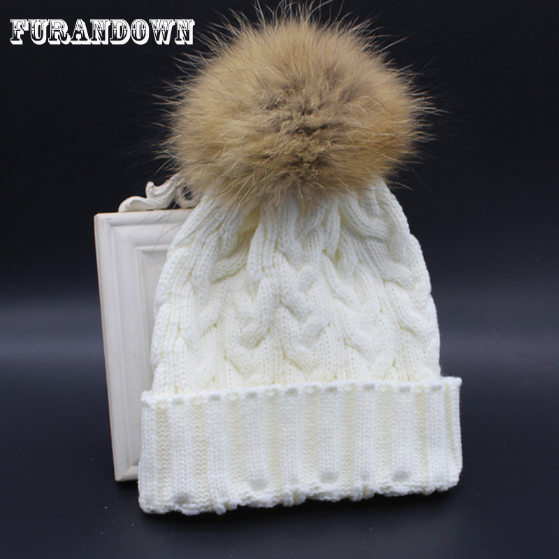 2018 Winter Autumn Wool Knitted Beanies Women's Hat 100% Real Raccoon Fur Pompom Beanie Hats For Women