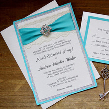 Turquoise And Silver Glitter Wedding Invitation CA0765