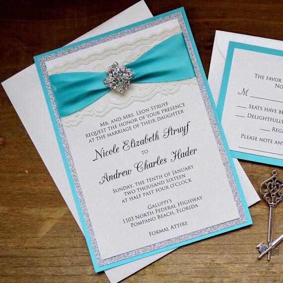 Turquoise And Silver Glitter Wedding Invitation CA0765(China)