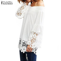 ZANZEA Women Off Shoulder Ruffled Casual Loose Tops Blusas Vintage Lace Floral Crochet Hollow Out Top