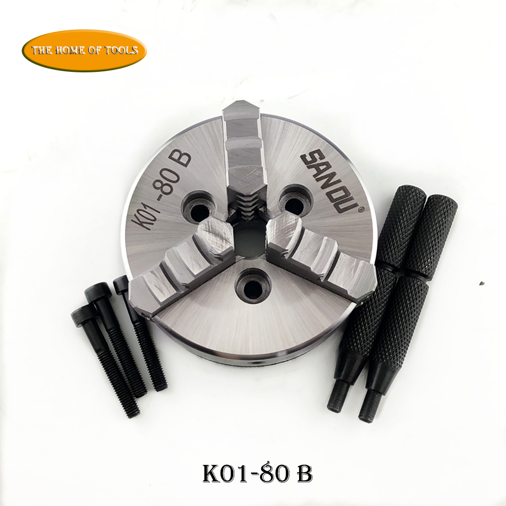 3 Jaw 80mm Manual Self-Centering Lathe Chuck 2'' Three Jaws Mini Chuck K01-80B Hardened Steel for CNC Wood Lathe недорого