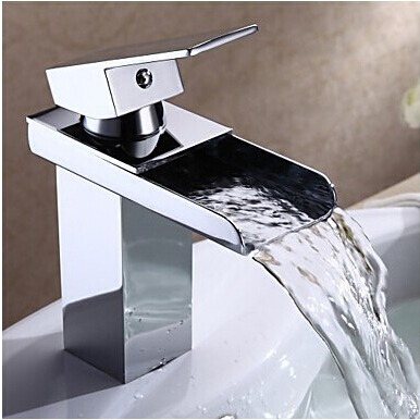 Fashion Square shape brass bathroom sink faucet,single lever waterfall basin faucet water tap mixer fashion design goose neck brass robinet bathroom basin tap faucet