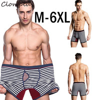 Clomplu 8pcs Men's Panties Boxer Men Underwear Breathable Underpants Stripe Pattern Cotton Spandex Male Panties Plus Size S 6XL