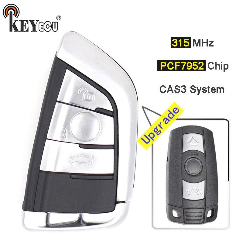 KEYECU 315MHz PCF7952 puce CAS3 système Keyless-Go modifié 3 bouton télécommande voiture porte-clés pour BMW 3/5 série x5 x6 2006-2011