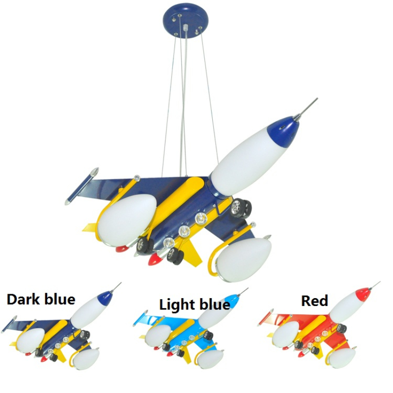 Modern Kid's Bedroom Red/Blue Airplane LED Pendant Light Child Room Lamp Fixtures Plane Hanging Lights For Living Room Novelty