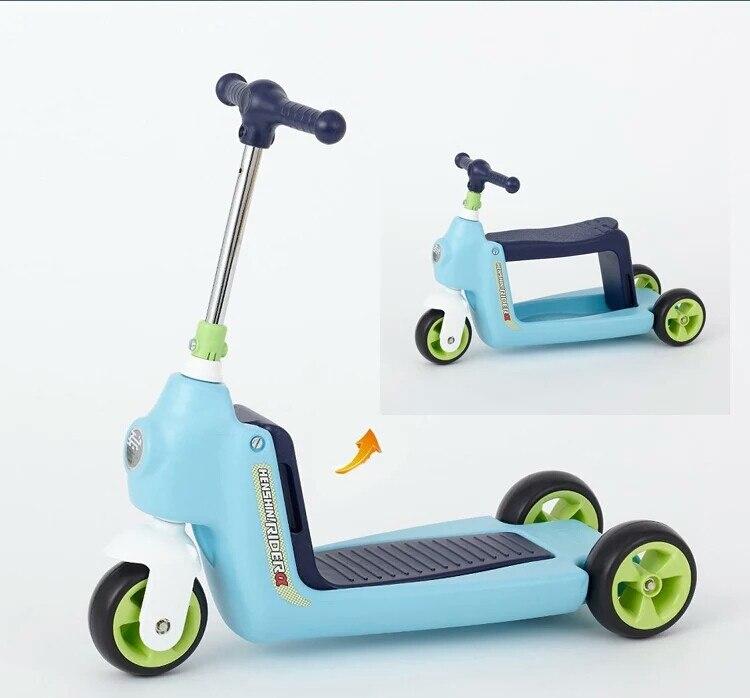 2 en 1 bébé voiture enfants Scooter Tricycle multi-fonction enfant Scooter enfants monter sur voiture Balance vélo bébé marcheur avec roues - 3