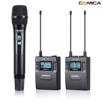 COMICA CVM-WM300B/D Metal UHF 96-channels Wireless Mono/Stereo Lavalier Interview Microphone for Canon Nikon Camera