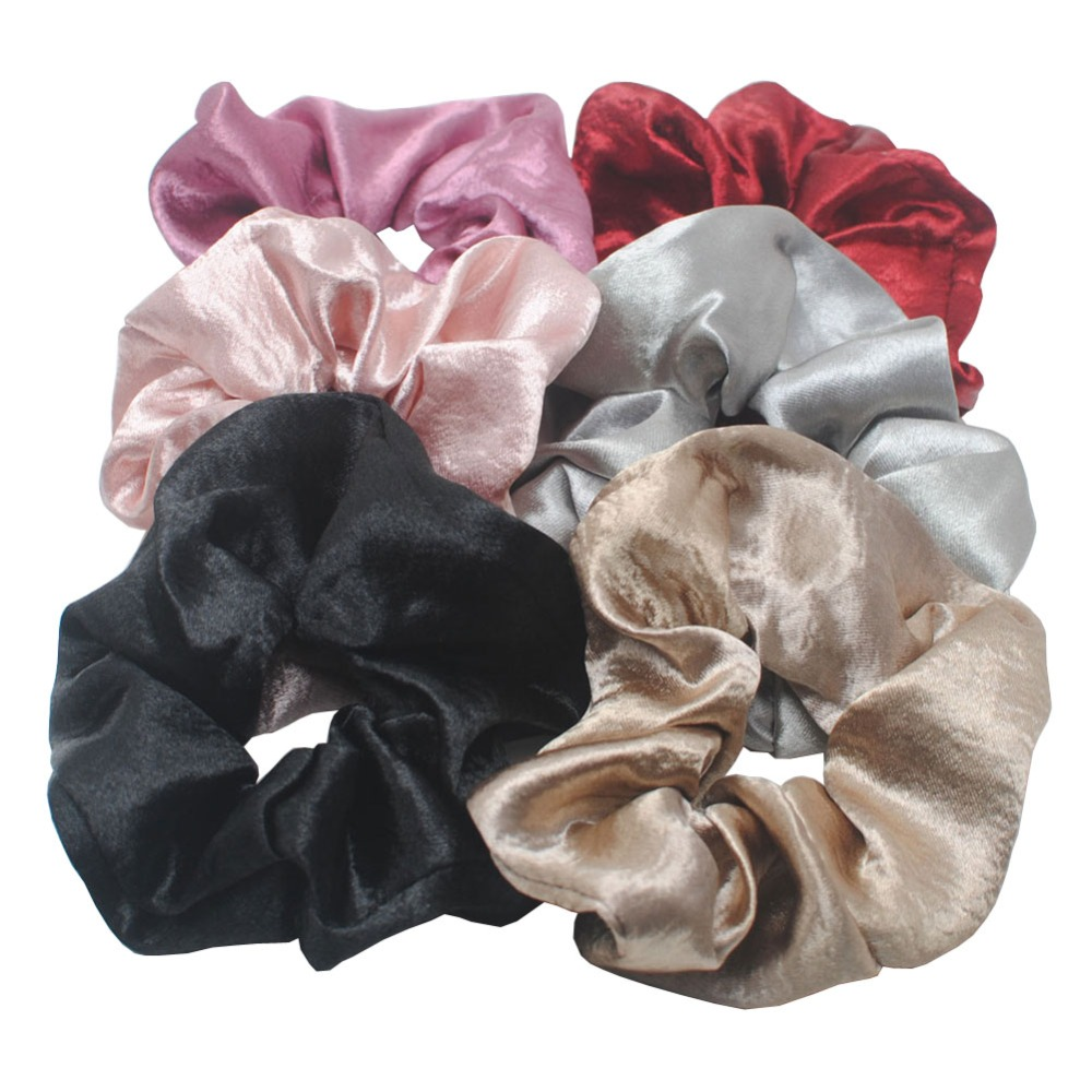 1 Piece Big Size Hair Scrunchies Soft Satin Elastic Hair Bands Women Gift Hair Tie Holder Accessories