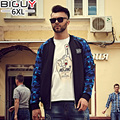 BIG GUY Store Plus Size Casual Thin Spring Autumn Coat Men 2016 Stand Collar Camouflage Sleeve Patchwork Jackets 1314