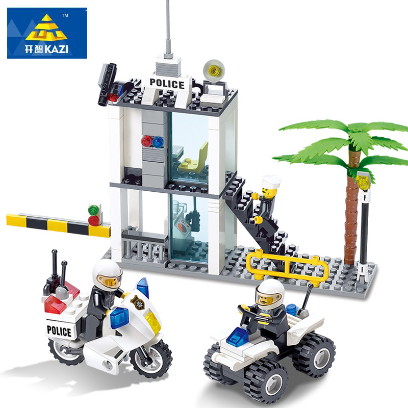 KAZI 193pcs Police office Police Station Action & Toy Figures Building Blocks baby toys for children 3D Construction bricks plated f cable to tv cable convertor plug