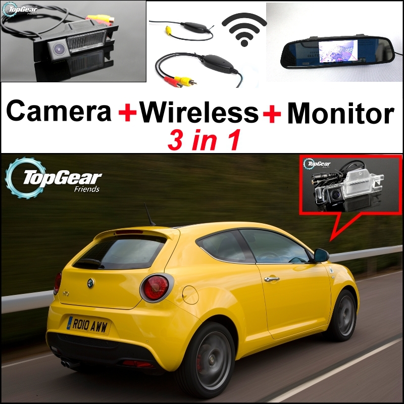 3in1 Special WiFi Camera + Wireless Receiver + Mirror Monitor EASY DIY Parking System For Alfa Romeo MiTo AR Furiosa 2007~Onwork wireless pager system 433 92mhz wireless restaurant table buzzer with monitor and watch receiver 3 display 42 call button