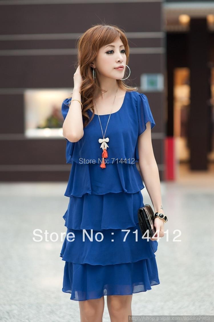 Women Plus Size Knee Length Short Sleeve Chiffon Dress female ...