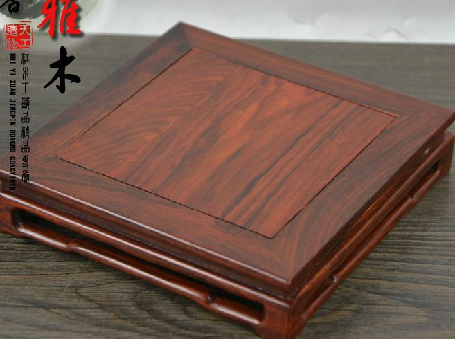 Red wood for rectangular stone vases Min dynasty type kettle seal bonsai furnishing articles of Buddha base in Figurines Miniatures from Home Garden