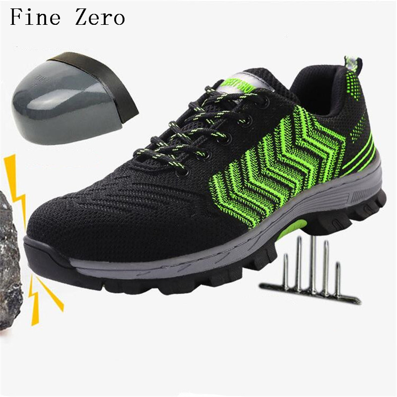 Fine Zero Male Big Size Air Mesh Steel Toe Cap Men Work Safety Shoes Breathable Working Boots Puncture Proof Protective Footwear unisex safety shoes with steel toe cap working shoes men casual breathable mesh work safety boots puncture proof security boots