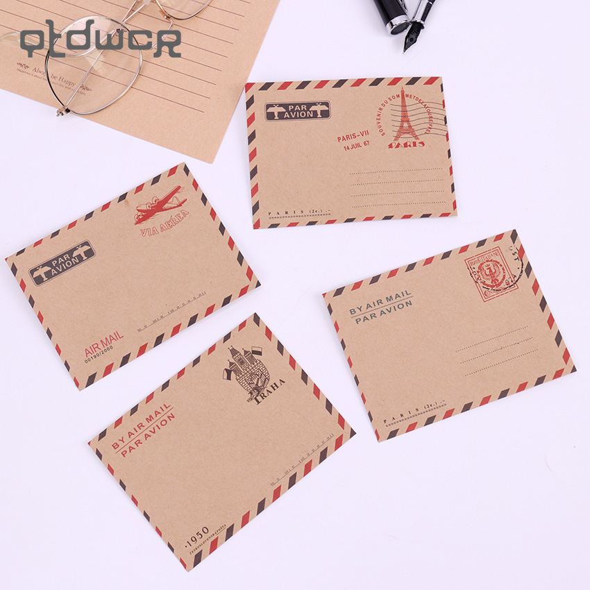 10PCS Vintage Mini Paper Envelopes Kawaii Kraft Paper Envelope Wedding Party Invitation Envelope Greeting Cards Gift
