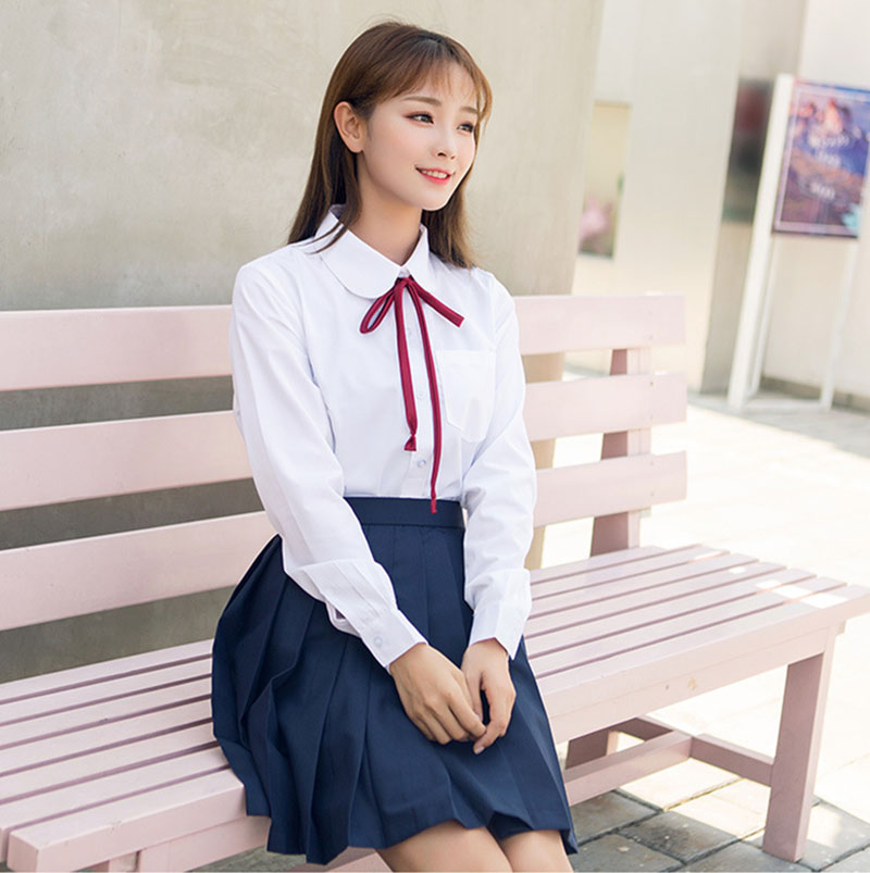 Girls Japanese Korean Style School Uniform Long Sleeve Costume White T-shirt Top Navy Blue Pleated Skirt With Red Ribbon Tie