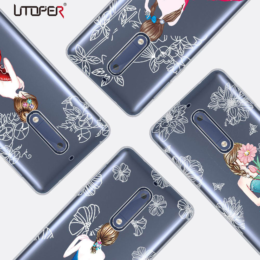 UTOPER Silicone Case For <font><b>Nokia</b></font> 5 Case Transparent Case For <font><b>Nokia</b></font> 5 Cover Personalized Design Girls <font><b>Dress</b></font> Cover For <font><b>Nokia</b></font> 5 Case