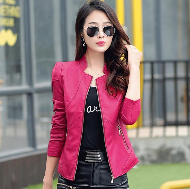 rose En À Printemps 2018 Zipper vert Automne Cuir Hot Mince Moto Longues New Brand Noir Red Veste Court Vestes Femmes Revers Manteau Femelle Manches BqznFYw