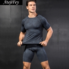 AtejiFey 2018 Fitness jogging Clothing Suit leggings Sportswear activewear Men Running Workout Tracksuit Quick drying Yoga sets