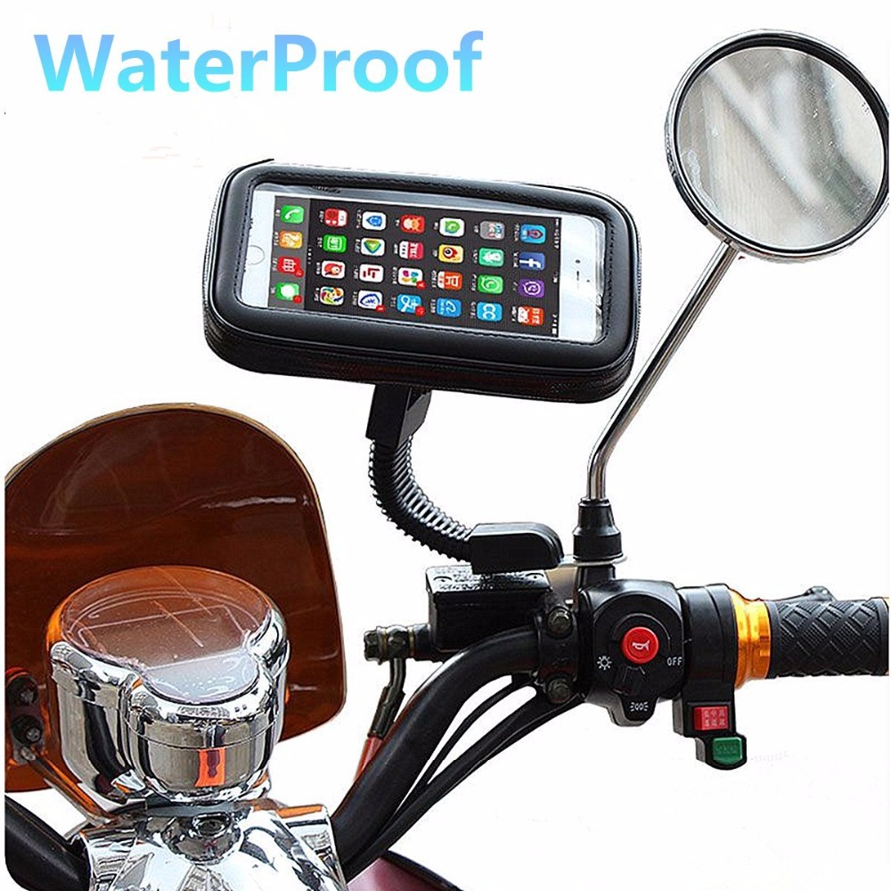 Waterproof Motorcycle Motorbike Scooter Mobile Phone Holder Bag Case for iPhone5 6 7/Samsung etc(Mount to Rearview Mirror Stand)