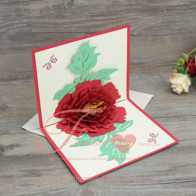 new design creative peony flower shape pop up paper laser cut birthdaygreeting cards