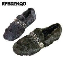 Kış Taklidi Elmas Kristal Yuvarlak Ayak tasarım ayakkabı Çin Kürk Üzerinde Kayma Drop Shipping 2019 Kadınlar Gri Daireler Gri Moda