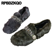 Winter Rhinestone Diamond Crystal Round Toe Designer Shoes China Fur Slip On Drop Shipping 2019 Women Grey Flats Gray Fashion