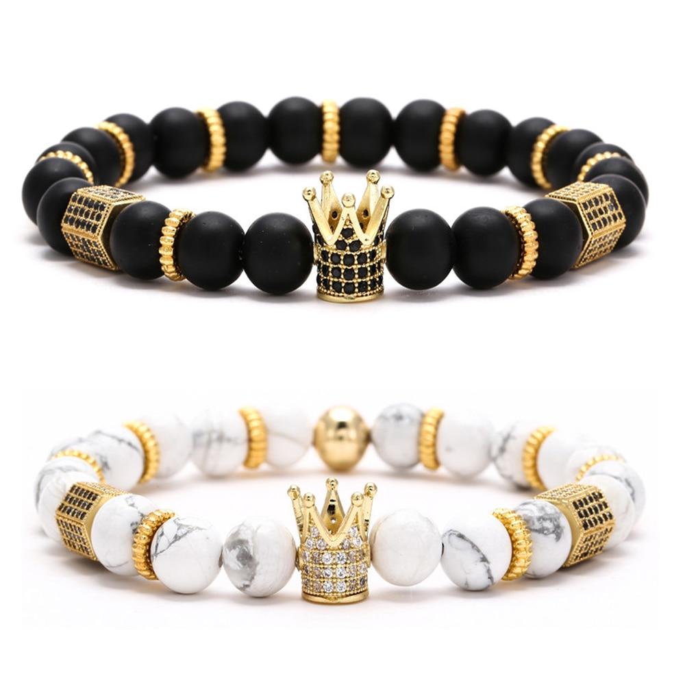 Fashion Luxury Men Women Charm CZ Crown Beaded 4mm Bracelets Bangle Jewellery