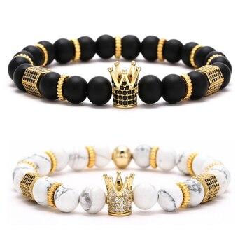 Bracelets assortis couple Roi et Reine couronne brillant