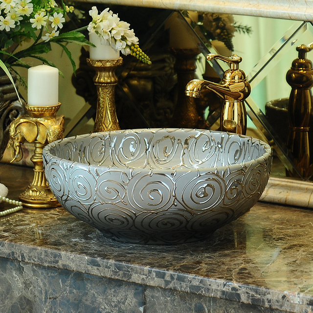 Silver Porcelain China Vessel Sink Handmade Ceramic Wash Basin Lavobo Round  Countertop Bathroom Sink Modern Wash