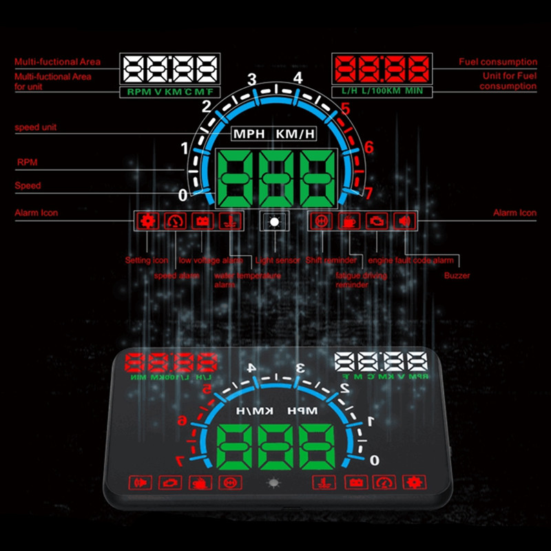 lowest price 5 8inch Screen HUD Car Head Up Display Engine Fault Fuel Alarm Speedometer E350