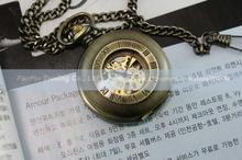 Para hombre de bronce roma números esqueleto reloj de bolsillo de cadena caja de regalo libre