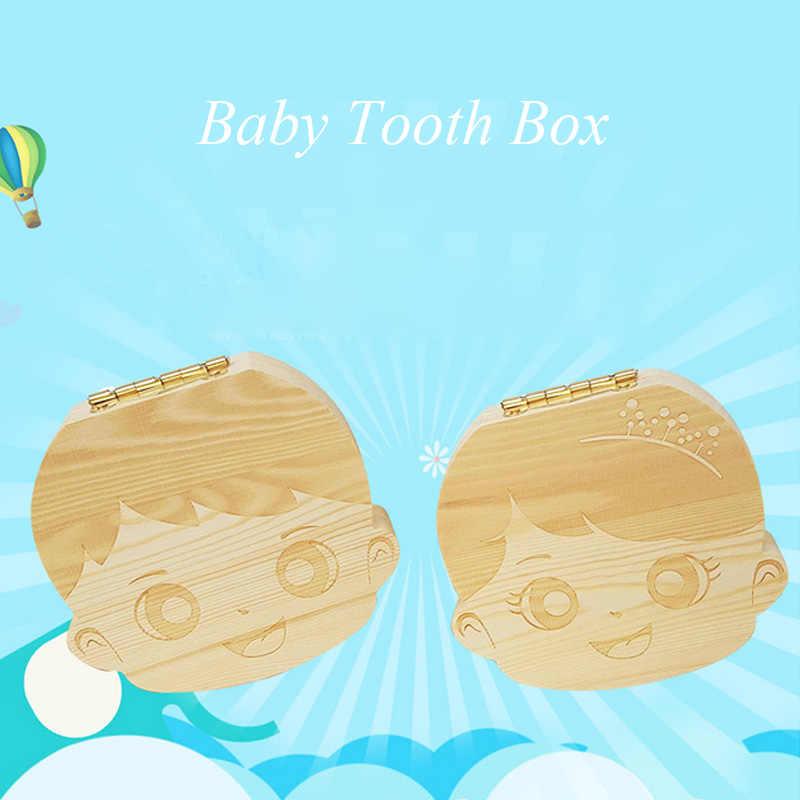 Spanien Englisch sprache Holz Zahn Box Veranstalter Speichern Milchzähne Holz Sammeln Zähne Geschenke Nabelschnur Lanugo