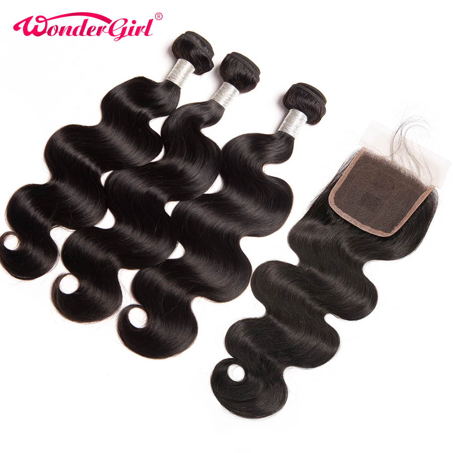 Malaysian Body Wave 3 Bundles With Closure 4pcs/lot Remy Human Hair Bundles With Closure No Tangle Wonder girl Hair