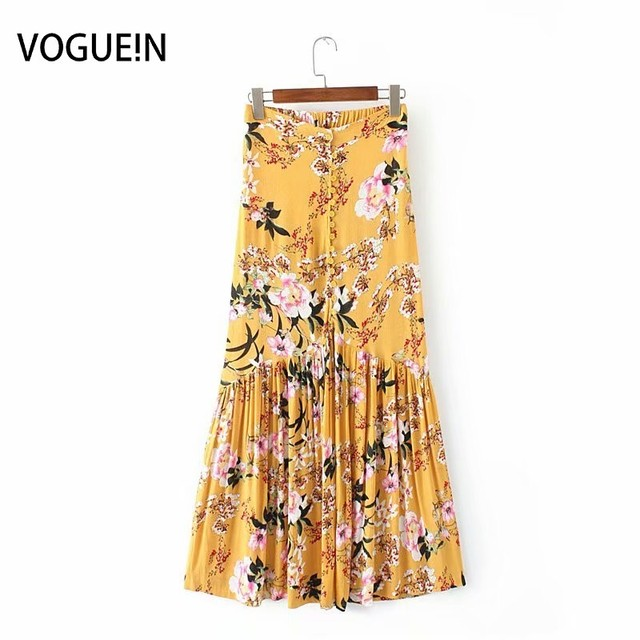 VOGUE!New Womens Summer Sexy Floral Print High Waist Pleated Button Down Midi Skirt 6 Colors