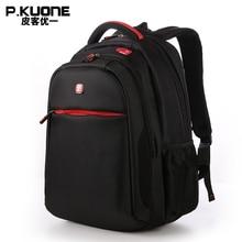 P. KUONE Marke Schultaschen Für Jugendliche/Wasserdichte Schwarze Männer Schule Rucksack Männlichen Laptop Student Rucksack Taschen sac a dos