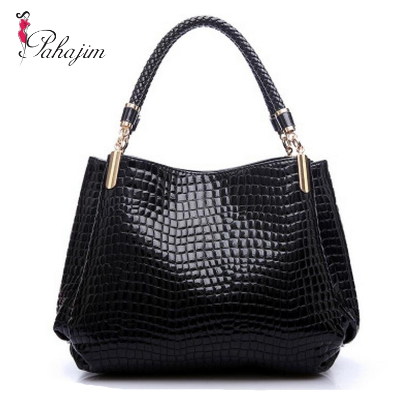 6f4c98ed8e9f Europe and America 2018 new women messenger bags large bag embossed  crocodile pattern patent women bag