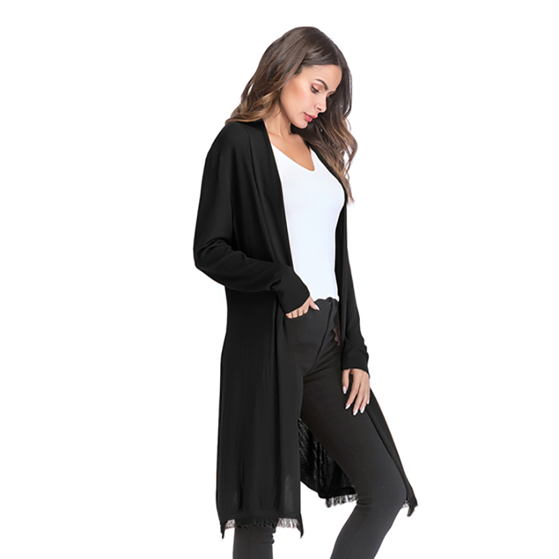 Kostlich 2018 Women Solid Color Tassel Long Knitted Cardigans Casual Open Stitch V Neck Full Sleeves Cardigans M-XL (14)