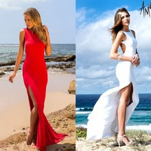 2016 Hot Sale Red And White Women's Bodycon Bandage Long Halter Dress Sexy Midi Evening Party Prom Club Dresses