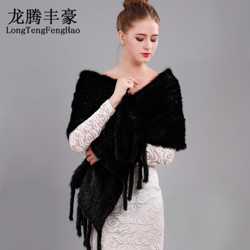 Mink scarves Fur Knitted Women Pashmina Mink Fur Women Scarves Winter warm soft New Real Mink Fur Natuarl Scarves shawl Female