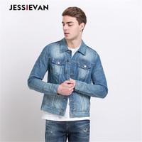 Jessie Van 2017 New Autumn Winter Men Denim Jacket Fashion Casual Slim Jean Jacket Coat Long